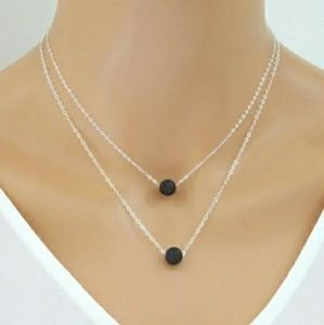 lava stone bead aromatherapy necklace